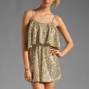 Lovers+ Friends Gold Sequin Sunkissed Mini Dress